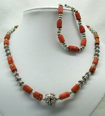 Vintage Unusual Ornate Silver And Coral Necklace And Bracelet