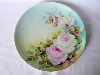 Antique French Haviland Limoges Porcelain Hand Painted Roses Plate