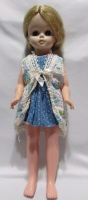 """Vintage 1966 Effanbee 14"""" Doll Blue White Outfit Blonde Open Close Eyes Vinyl"""