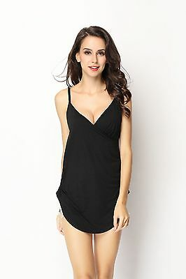 New Coolmama designed maternity nursing breast feeding Long Cami Black XS-XL8~18