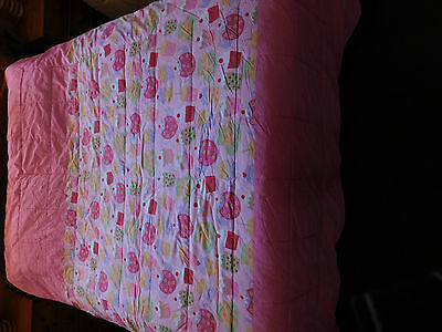 BEAUTIFUL GIRL'S PINK QUILTED THROW BEDSPREAD 155cm x 214cm SINGLE
