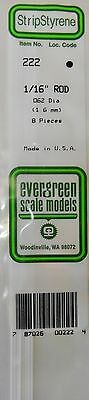 "Evergreen Strip Styrene 222 8 x .1/16"" (1.6 mm) Rod."