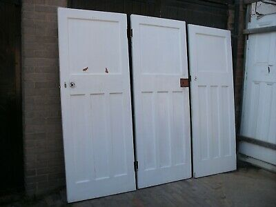 Reclaimed 1930s 1 over 3 panel doors. Unrestored  (15 available)