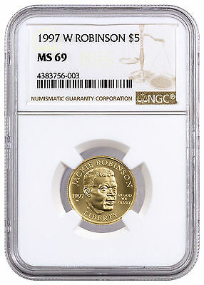 1997-W $5 Jackie Robinson Gold Commemorative Legacy of Courage NGC MS69 SKU17390