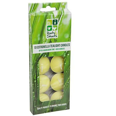 Pack of 10 Citronella Tealight Candles - Up to 4 Hours Burn Time