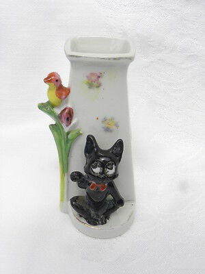 Vintage Black Cat with Bird and Flower or Cattail Bud Vase, Made in Japan