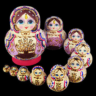 10pcs Wooden Russian Hand Painted Nesting Dolls Babushka Matryoshka Dolls mum