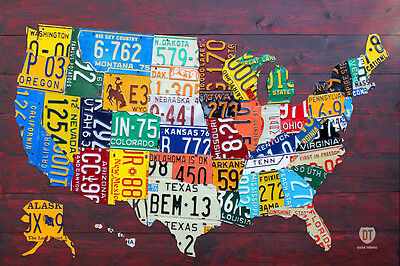 License Plate Map of The USA Recycled Metal Wall Decor Pub Man Cave Art USA