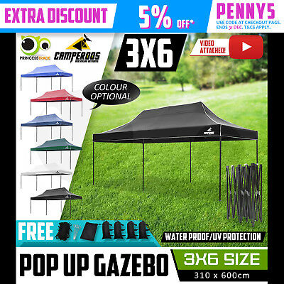 3x6m Gazebo Outdoor Marquee Tent Pop Up Folding Canopy Event Market Party BBQ