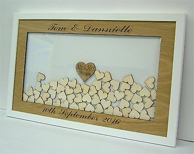 Personalised Wedding Drop Box Hearts Oak/White Guest Book Alternative zp6