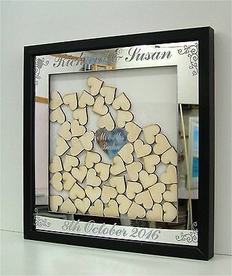 Personalised Mirror / Wooden Wedding Drop Box Hearts Guest Book Alternative 1k
