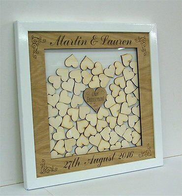 Personalised Wedding Drop Box with Stand and Hearts Guest Book Alternative 2f