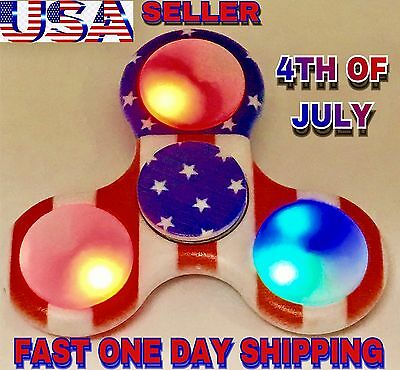 Usa Flag Led Tri Spinner Fidget, Camoflage,led,glow In The Dark,hand Spin,adhd