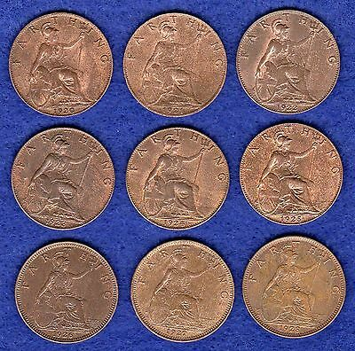Great Britain, George V, Farthings, 1920-28, 9 Coins, High Grade (Ref. t0249)