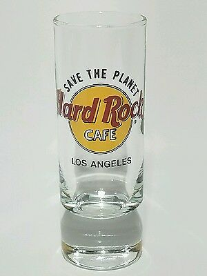 "Hard Rock Cafe LOS ANGELES STP Save The Planet Black Letter 4"" Shot Glass CLOSED"
