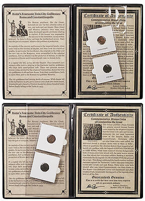 2 Coin Set Roman Bronze Nummi of Constantine I in Album with COA SKU47193