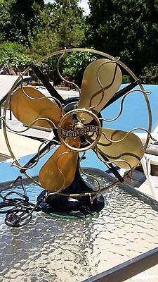 "Vintage Westinghouse 12"" Brass Fan - 4 blade 3 speed  Dated 1910"