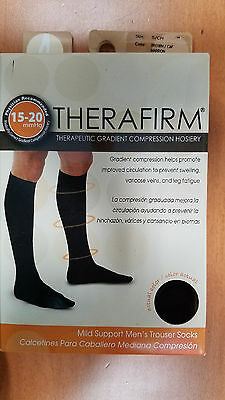 Therafirm Firm Compression Mens Trouser Socks 15 - 20 MMHG Brown SIZE: SMALL