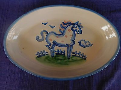 """M.A. Hadley Country Scene 14"""" OVAL SERVING PLATTER have many HADLEY items HORSE"""