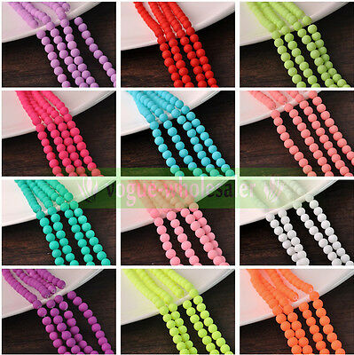 New 4/6/8/10mm Charm Matte Rubber Neon Round Glass Spacer Loose Beads DIY