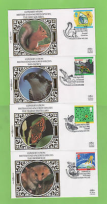 G.B. 1992 Green Issue set on four Benham First Day Covers