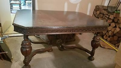 Original Vintage Antique  dining table set with four chairs