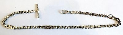 A Vintage Unmarked Silver Watch Chain With Albert & T-Bar Attached