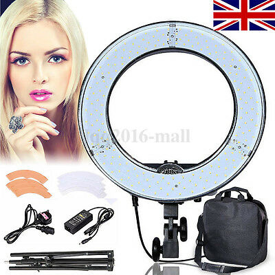 "19"" Dimmable LED Ring Light + 2 Colour Diffusers Stand Tripod Kit Make Up Studio"