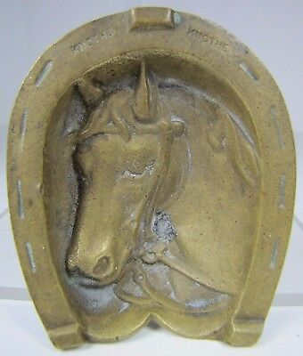 Vintage Brass Horse Head Horseshoe Decorative Art Trinket Tray marked KNOTHE