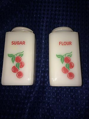 Vintage Milk Glass Range Shakers Kitchen Cherries Sugar Flour Pair Mint NR