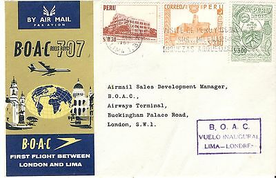 Perou Peru 1961 FFC First flight cover premier vol Lima London Londres BOAC