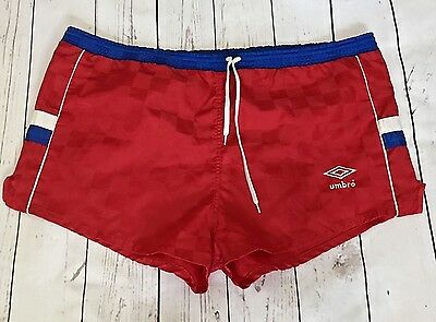 Vintage 80s 90s UMBRO Running Soccer Shorts check red/white/blue Adult Large