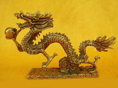 Chinese handwork brass Dragon Folk Collection Old Statue Collectable