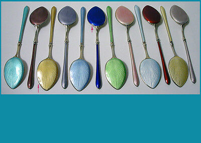 12 Nordic enamel sterling silver Iced Cream / Pastry spoons  gold washed no mono