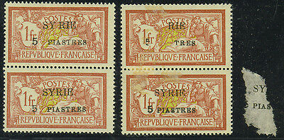 "Syria 1924 S.g. 129 Pair With ""5 Piastres"" Printed Partially On Stuck Paper"