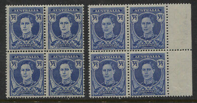 "Australia BW231c GVI 3½d ""White Face"" Variety MLH Block of 4 + Normal Ret $500+"