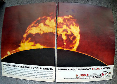 1961 Humble Esso Solar Flair Original 2 Page 10.5 by 13.5 Magazine Ad