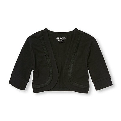 NWT The Children's Place Girls Black Elbow Sleeve Ruffle Trim Shrug Cardigan