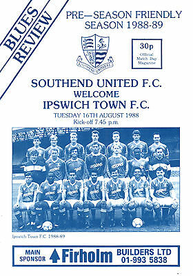 1988/89 Southend United v Ipswich Town, friendly, PERFECT