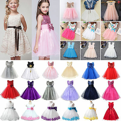 Flower Girl Kids Tulle Tutu Dress Princess Wedding Bridesmaid Prom Party Pageant