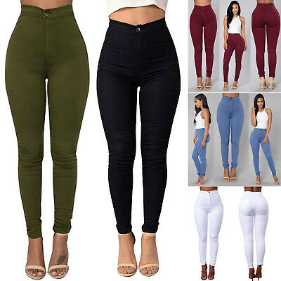 Womens High Waist Jegging Leggings Stretch Casual Skinny Pencil Pants Trousers