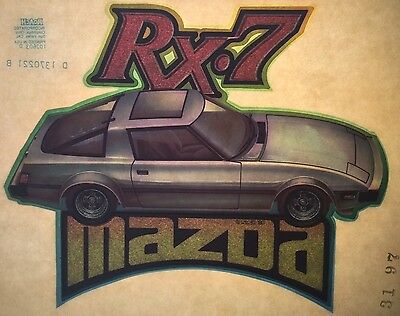 Vintage 1980 Mazda RX-7 Iron-On Transfer Sports Car Muscle Glitter Rare!