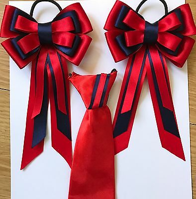 childs equestrian showing set - show tie bows  RED And NAVY lead Rein