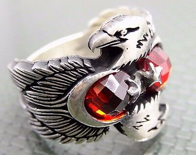 Turkish Handmade 925 Sterling Silver double headed eagle Ruby Mens Ring Sz 11