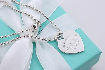 """Return To Tiffany & Co. Silver Heart Dog Tag Necklace on 30"""" Beaded Chain A33667"""