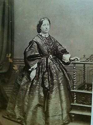 Fashionable woman circa mid 1800s watered silk moire dress Bayswater UK CDV nice