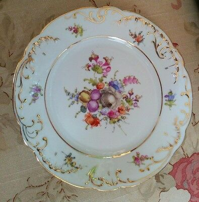 Vintage Hand painted porcelain Dresden flowers plate blue beehive or shield mark