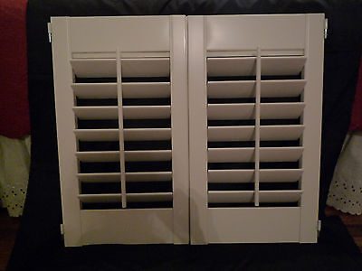 "2 (1 set) Interior Vinyl Clad Plantation Cafe Shutters White 27""Hx30""W & 3"" Slat"