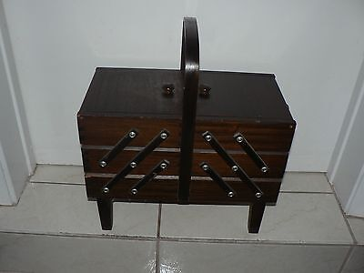 Antique Vintage Accordion Sewing Box 3 Tier with Legs Beautiful