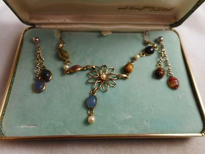 Vintage Boxed Van Dell Box Gf Carved Gemstone Scarab Necklace & Earring Sets